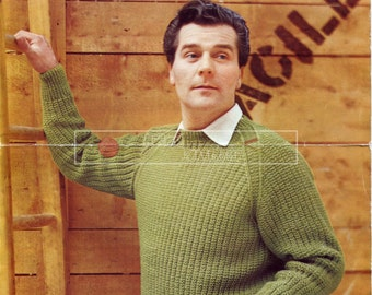 Men's Pullover DK 39-41in Lister 568 Vintage Knitting Pattern PDF instant download