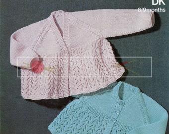Baby Matinee Coats 6-9 months DK Sirdar 3173 Vintage Knitting Pattern PDF instant download