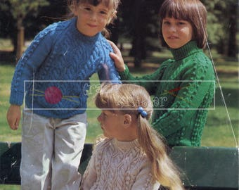 Child's Cable Sweater 24-30in DK Patons 1209 Vintage Knitting Pattern PDF instant download