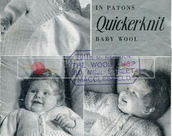 Baby Cardigans 0-6 months DK Patons 437 Vintage Knitting Pattern PDF instant download