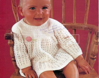 "Baby Angel Tops 3-ply, 4-ply and DK 18-20"" Studley 1031 Vintage Knitting Pattern PDF instant download"