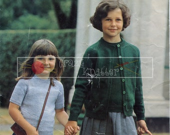 Girl's Twin Set 4-ply 24-30ins Sirdar 4248 Knitting Pattern PDF instant download