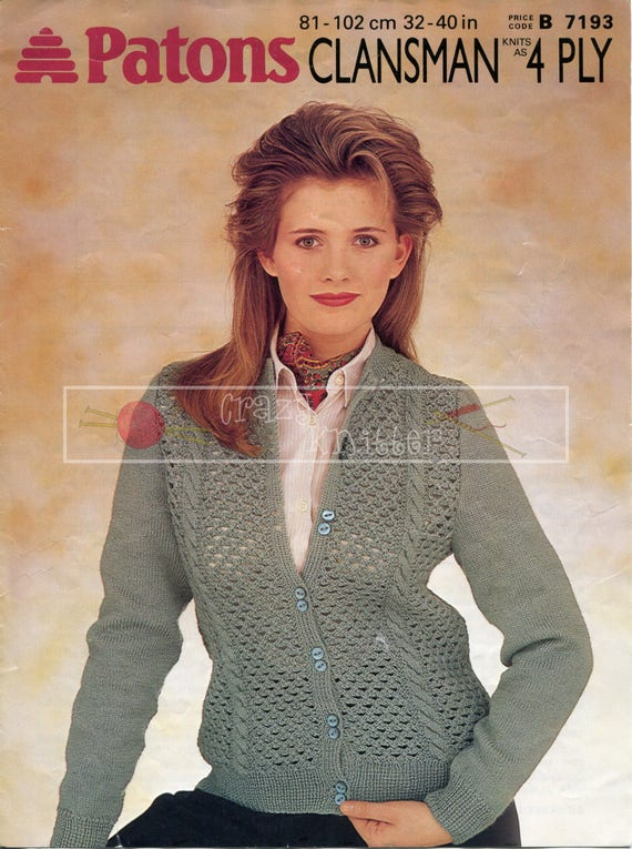 """Patons  4ply Knitting Pattern Ladies  Sweater Jumper  Size 32//42/"""""""