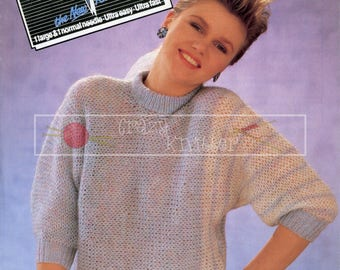 Child Teen Lady's Dolman Sweater 26-38in DK Patons 7998 Vintage Knitting Pattern PDF instant download