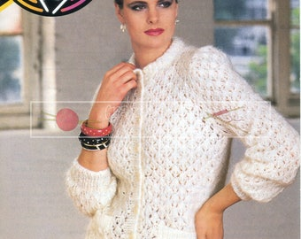 Lady's Lace Cardigan 31-42in Mohair Patons 7376 Vintage Knitting Pattern PDF instant download