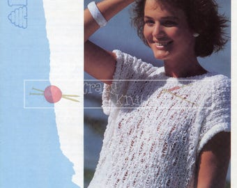 Teen Lady's Lace Top 30-40in DK Patons 7846 Vintage Knitting Pattern PDF instant download