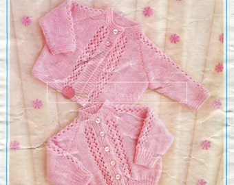 """Baby Matinee Coat and Cardigan 4ply DK 16-22"""" Keynote 136 Vintage Knitting Pattern PDF instant download"""