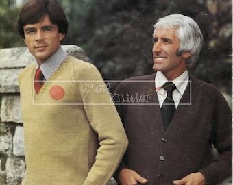Men's Raglan Cardigan & Sweater DK 40-50ins Sirdar 5725 Vintage Knitting Pattern PDF instant download