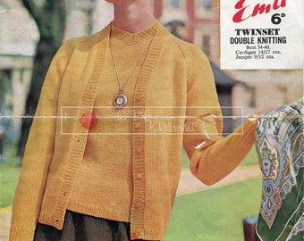 Lady's Twin Set DK 34-40in Emu 2075 Vintage Knitting Pattern PDF instant download