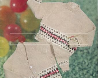 Child's Jersey & Cardigan 2-4 years DK Sirdar 252  Vintage Knitting Pattern PDF instant download