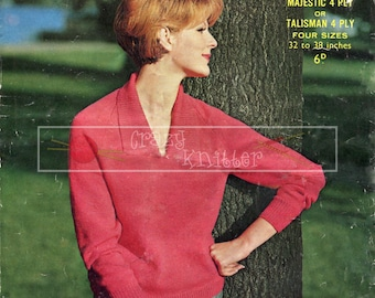 "Lady's Sweater 32-38"" 4-ply Sirdar 1816 Vintage Knitting Pattern PDF instant download"