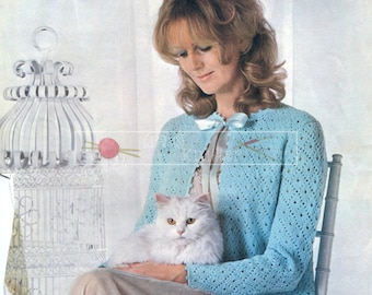 Lady's Lace Bed Jacket DK 32-38in. Patons 2132 Vintage Knitting Pattern PDF instant download