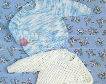 Baby Sweater DK 19-21ins Sirdar 3297 Vintage Knitting Pattern PDF instant download