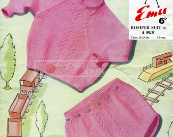 "Baby Romper Suit 4ply 21-23"" Emu 958 Vintage Knitting Pattern PDF instant download"