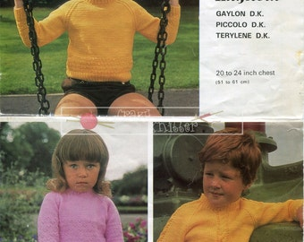 Toddler Sweaters Knitting DK 20-24in. Hayfield 979 Vintage Knitting Pattern PDF instant download