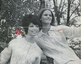 The Aran Look Cardigans Sweater Mittens Caps Sirdar DK 22-44in Vintage Knitting Pattern PDF Instant download