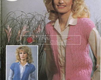 Lady's Lace Waistcoat DK 32-42in DK 32-42 Sirdar 6394 Vintage Knitting Pattern PDF instant download