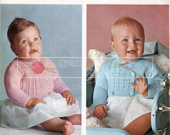 Baby Cardigans 18-19in DK Patons 9394 Vintage Knitting Pattern PDF instant download