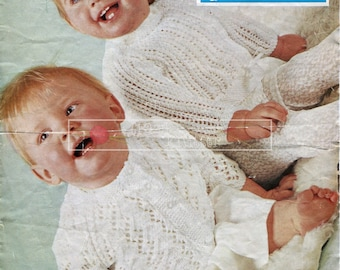 Baby Jumper and Cardigan DK 18ins Bairnswear 1704 Vintage Knitting Pattern PDF instant download