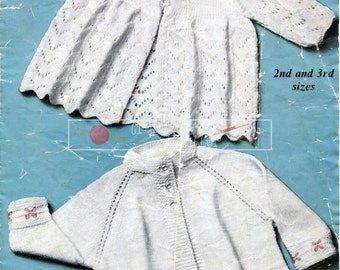 "Baby Matinee Coats 3-ply and 4-ply 19-21"" Marriner 587 Vintage Knitting Pattern PDF instant download"