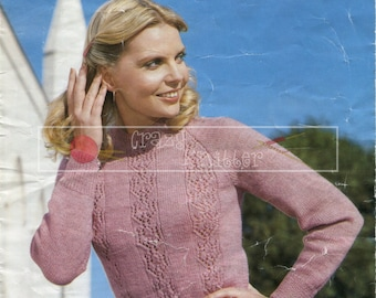 "Lady's Sweater 32-40"" DK Sirdar 6043 Vintage Knitting Pattern PDF instant download"