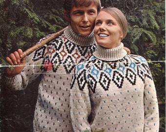 Unisex Fairisle Sweaters Chunky 34-42in Patons 5062 Vintage Knitting Pattern PDF instant download