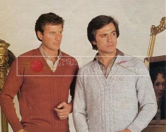 """Men's Raglan Sweater 36-46"""" 4ply DK Sirdar 6186 Vintage Knitting Pattern PDF instant download"""