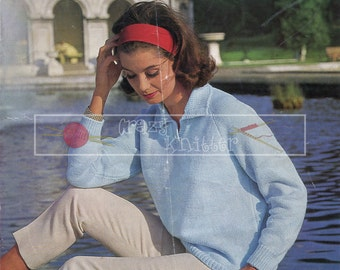 "Lady's Shirt Sweater 32-38"" DK Sirdar 2095 Vintage Knitting Pattern PDF instant download"
