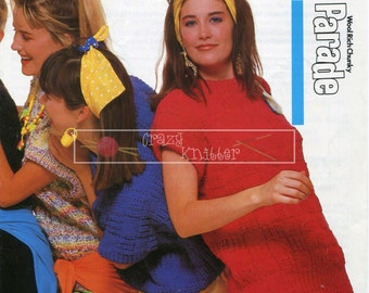 Lady's Slipover Chunky 32-42in Patons 8575 Vintage Knitting Pattern PDF instant download