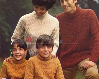 Family Turtle Neck Sweaters DK 26-42ins Patons 6240 Vintage Knitting Pattern PDF instant download