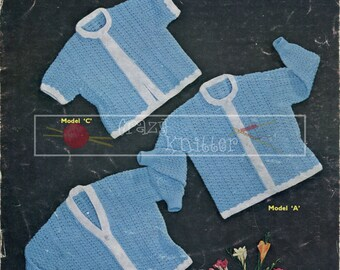 Girl's Lacy Cardigans 2-3 years 4-ply Sirdar 233 Vintage Knitting Pattern PDF instant download