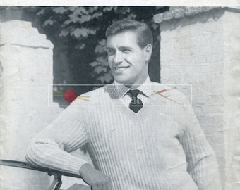 Men's Pullover DK 38-42in Lister 986 Vintage Knitting Pattern PDF instant download