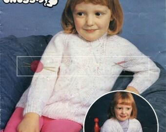 Children's Sweater & Cardigan DK 22-26ins Sirdar 3350 Vintage Knitting Pattern PDF instant download