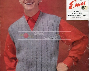 Men's Pullover 3ply 4ply DK 36-44in Emu 4168 Knitting Pattern PDF instant download