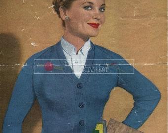 Lady's Raglan Cardigan DK 32-40in Weldons Knitwear 1261 Vintage Knitting Pattern PDF instant download
