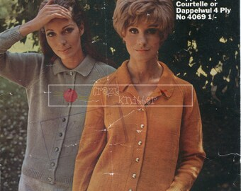 Lady's Jackets DK 4-ply 34-40in Jaeger 4069 Vintage Knitting Pattern PDF instant download