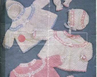 Baby Matinee Coat Sets 0-6 months DK Sirdar Sunshine Series 260 Vintage Knitting Pattern PDF instant download