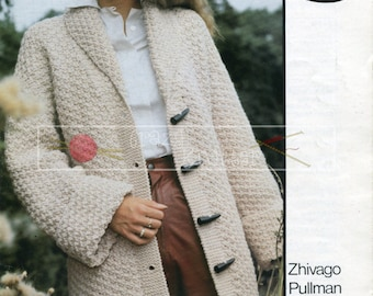 "Lady's Jacket 32-40"" Chunky Sirdar 5927 Vintage Knitting Pattern PDF instant download"