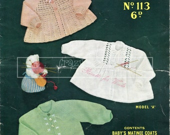 Baby Matinee Coats 3-6 months 3-ply Sirdar Sunshine Series 113 Vintage Knitting Pattern PDF instant download