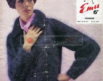 Lady's Cardigan Mohair 32-38in Emu 2202 Vintage Knitting Pattern PDF instant download