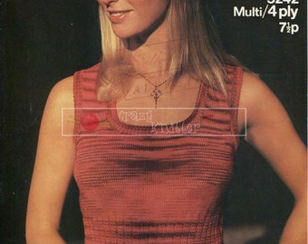 Lady's Summer Top 4-ply 32-38in Sirdar 5242 Vintage Knitting Pattern PDF instant download