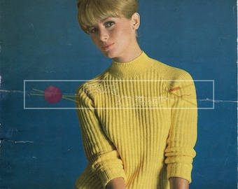 Lady's Raglan Sweater 4-ply 34-40ins Sirdar 2246 Vintage Knitting Pattern PDF instant download