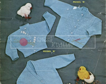 Baby Cardigans Birth Size 4-ply Sirdar 231 Vintage Knitting Pattern PDF instant download