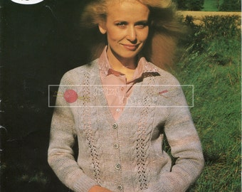 Lady's Lace Cardigan DK 32-44in. Sirdar 6442 Vintage Knitting Pattern PDF instant download