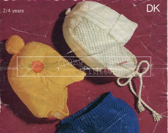 Children's Helmets 2-4 years DK Sirdar 3141 Vintage Knitting Pattern PDF instant download