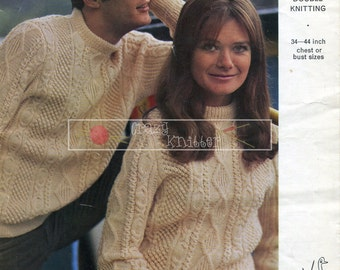 Unisex Aran Sweaters DK 34-44in Emu 4354 Vintage Knitting Pattern PDF instant download