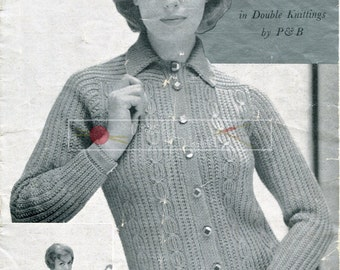 Teenager Sweater and Cardigans DK 32-36ins Vintage Knitting Pattern PDF instant download