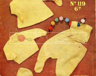 Baby Pram Set DK 3-6 months Sirdar Sunshine Series 119 Vintage Knitting Pattern PDF instant download