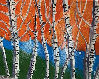 Abstract Birch Trees Acrylic Painting