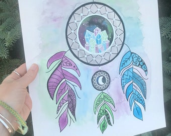 Crystals and Feathers Dreamcatcher - Mixed Media Painting